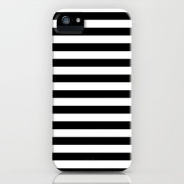 Black and White Horizontal Strips iPhone Case
