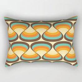 Wavy Turquoise Orange and Brown Retro Lines Rectangular Pillow