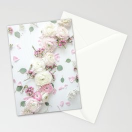 SPRING FLOWERS WHITE & PINK Stationery Cards