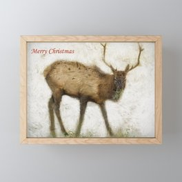 Merry Christmas Elk Greeting Card Framed Mini Art Print