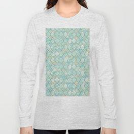 Luxury Aqua and Gold oriental pattern Long Sleeve T-shirt