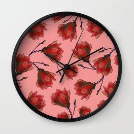 Red Magnolia Wall Clock