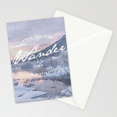 Wanderlust snow landscape winter sunset typography Stationery Cards