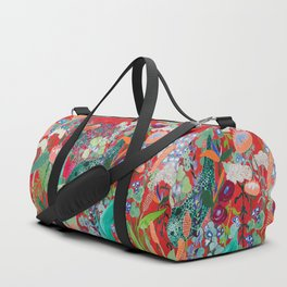 Red floral Jungle Garden Botanical featuring Proteas, Reeds, Eucalyptus, Ferns and Birds of Paradise Duffle Bag