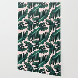 Tropical Blush Banana Leaves Dream #1 #decor #art #society6 Wallpaper