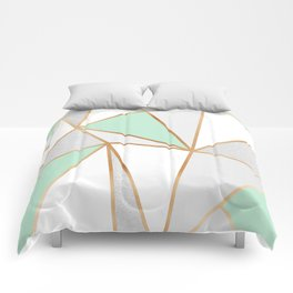 Mint Green, Grey & Gold Geo Comforters