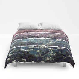 Vincent Van Gogh Almond Blossoms Panel Dark Pink Eggplant Teal Comforters