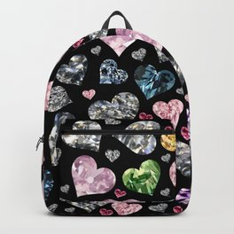 Heart Diamonds are Forever Love Black Backpack