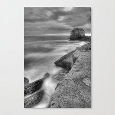 Portland Bill Seascape in Black and White HDR Canvas Print