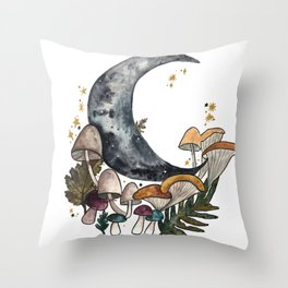 Mushroom Moon Throw Pillow