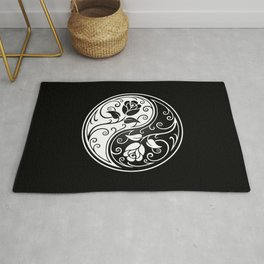 Black and White Yin Yang Roses Rug