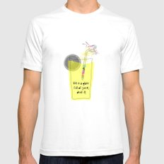 life is a glass of juice, drink it! SMALL White Mens Fitted Tee