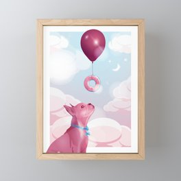 Keep dreaming - frenchie donut balloon Framed Mini Art Print