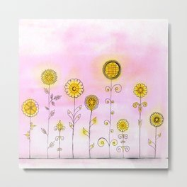 Pink Folk Flowers Metal Print