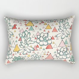 Succulent and triangles seamless pattern Rectangular Pillow