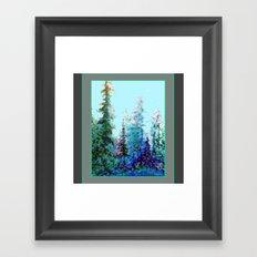 Grey  Blue Mountain Nature Landscape Blue-Greens Framed Art Print