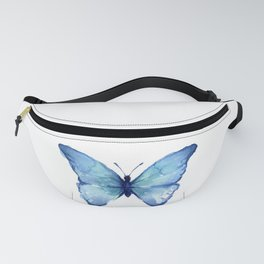 Blue Butterfly Watercolor Fanny Pack