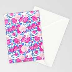Pink Shabby Chic roses and royal blue vines on white Stationery Cards