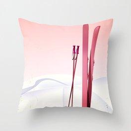 valais Switzerland vintage style ski poster Throw Pillow