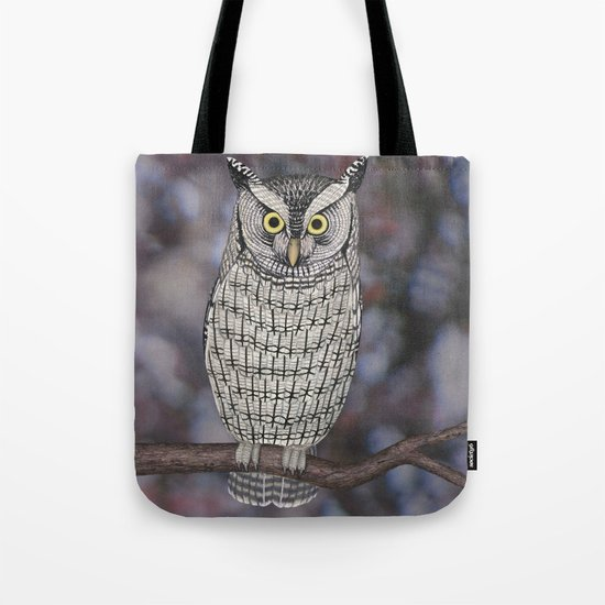 eastern screech owl on a branch Tote Bag