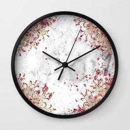 Royals - ruby gems, golden mandala and white grunge Wall Clock