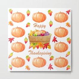 Watercolour Pumpkin Turkey Pattern Happy Thanksgiving Metal Print