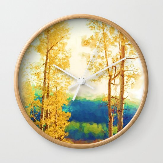Faded Aspens Wall Clock