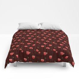 Poppies on Garnet Comforters