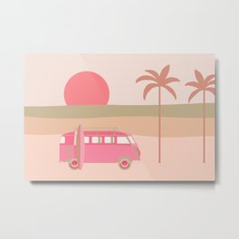 Surfers Paradise Boho Beach Spot With Camper Van Metal Print