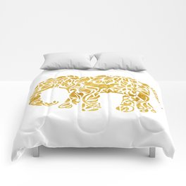 Floral Elephant in Gold Comforters