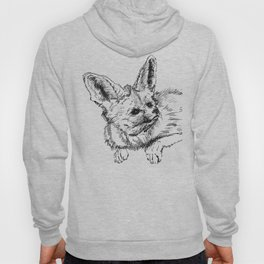 Fennec fox - cute animal print, wall decor, wall art, black and white Hoody