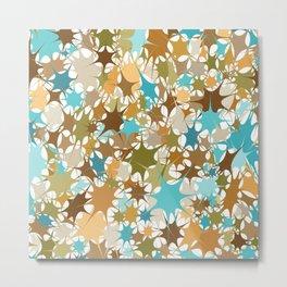 Abstract Starburst Mosaic // Turquoise, Caribbean Blue, Green, Brown // Digital Paint Splotches // V2 Metal Print