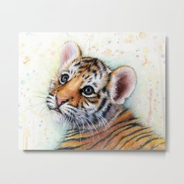 Nursery-Artwork-Tiger-Cub-Baby-Animal-Watercolor-Jungle-Safari-Animals Metal Print