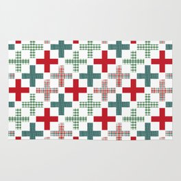 Swiss cross christmas minimal pattern red and green holiday festive pattern gifts Rug