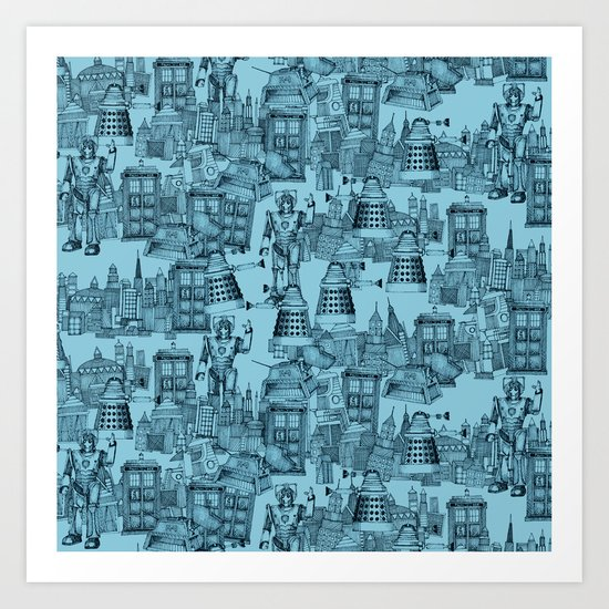 Doctor Who Toile de Jouy | 'Walking Doodle' | Turquoise Art Print