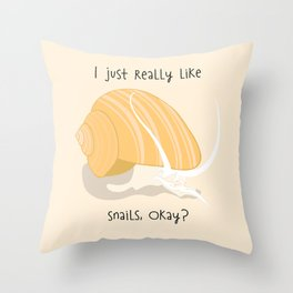 I Just Really Like Snails Gold Throw Pillow