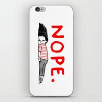 blue iPhone & iPod Skins featuring Nope by gemma correll