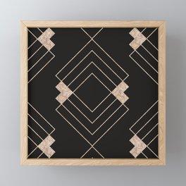 Elegant black rose gold geometrical stripes diamond pattern Framed Mini Art Print