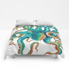 Octopus Tentacles Teal Green Watercolor Art Comforters