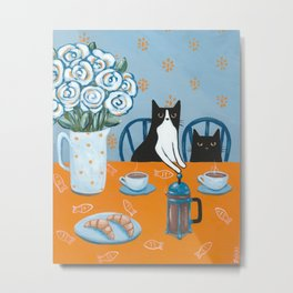 Cats and a French Press Metal Print