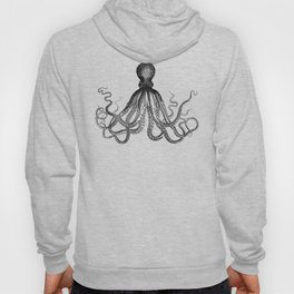 Antique Nautical Steampunk Octopus Vintage Victorian Kraken sea monster emo goth drawing Hoody