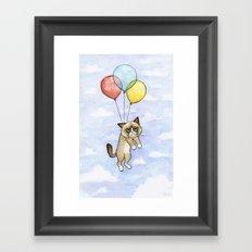 Cat With Balloons Grumpy Birthday Meme Framed Art Print