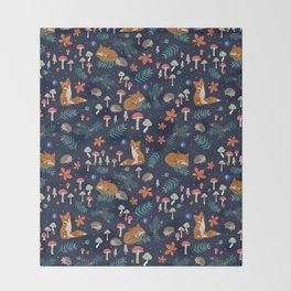 Fox and Hedgehog in Toadstool Woods In Blue Throw Blanket