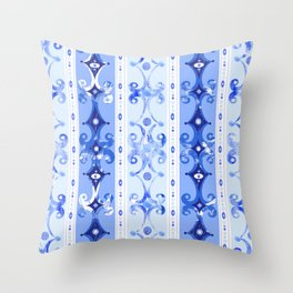 Blue Geometric Scrollwork Throw Pillow