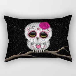 Adorable Pink Day of the Dead Sugar Skull Owl Rectangular Pillow
