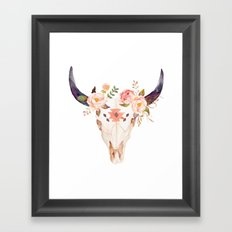 Bull Head Skull Boho Flowers Framed Art Print