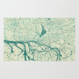 Hamburg Map Blue Vintage Rug