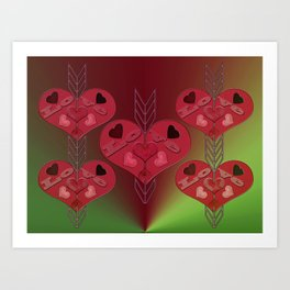 Arrow Shooting Love Hearts Art Print