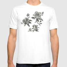 Black Magnolia Pattern Mens Fitted Tee White LARGE