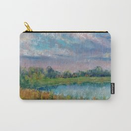 Landscape with lake, fields, forest and blue sky drawing by pastel Carry-All Pouch
